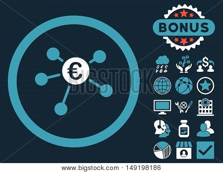 Euro Payments icon with bonus symbols. Vector illustration style is flat iconic bicolor symbols blue and white colors dark blue background.