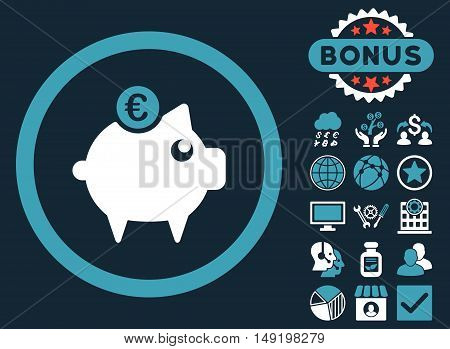 Euro Piggy Bank icon with bonus pictures. Vector illustration style is flat iconic bicolor symbols blue and white colors dark blue background.