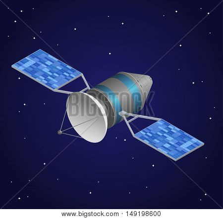 Observation Satellite on Night Sky Background. Wireless Technology. Isometric View. Vector illustration