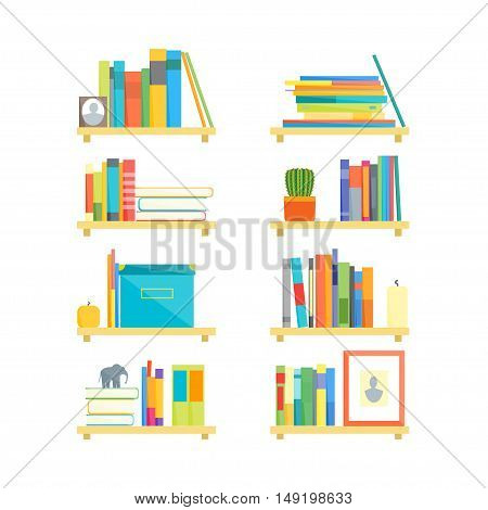Shelves with Books and Different Things Set. Flat Design Style. Vector illustration