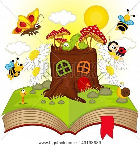 open book with house stump and insects - vector illustration, eps