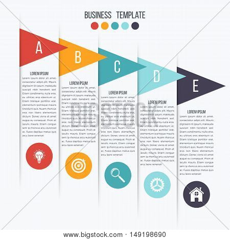 Vector arrows infographic. Template for diagram, graph, presentation and chart. Business concept with 5 options, parts, steps or processes
