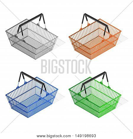 Colorful Plastic Shopping Basket Set. Equipment for the Buyer. Vector illustration