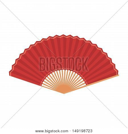 Folding fan icon in cartoon style isolated on white background. Theater symbol vector illustration
