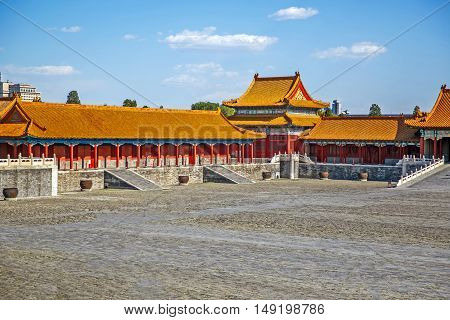 Traditional Chinese Building, Empty Forbidden City in Beijing - China, clear sunny day