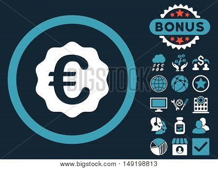 Euro Reward Seal icon with bonus symbols. Vector illustration style is flat iconic bicolor symbols blue and white colors dark blue background.