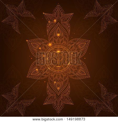 Chakra Svadhisthana on a Dark Brown Background for Your Design. Vector illustration