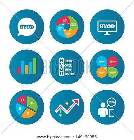 Business pie chart. Growth curve. Presentation buttons. BYOD icons. Human with notebook and smartphone signs. Speech bubble symbol. Data analysis. Vector