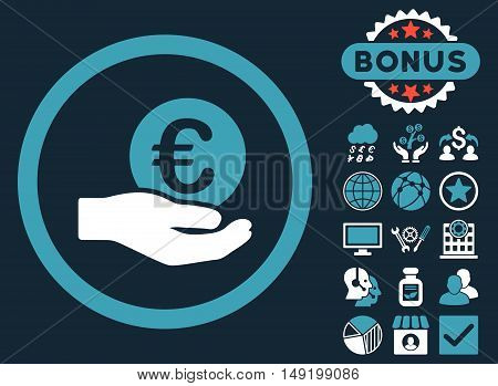 Euro Salary Hand icon with bonus elements. Vector illustration style is flat iconic bicolor symbols blue and white colors dark blue background.