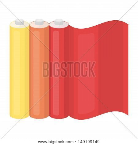 Color printing paper in cartoon style isolated on white background. Typography symbol vector illustration.