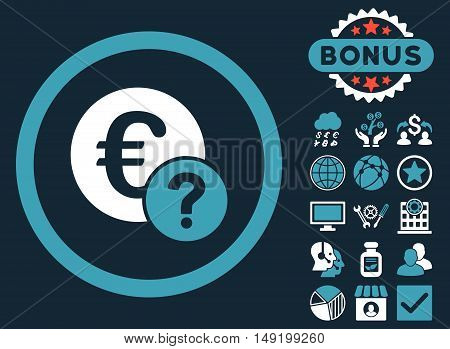 Euro Status icon with bonus elements. Vector illustration style is flat iconic bicolor symbols blue and white colors dark blue background.