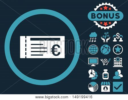Euro Ticket icon with bonus design elements. Vector illustration style is flat iconic bicolor symbols blue and white colors dark blue background.