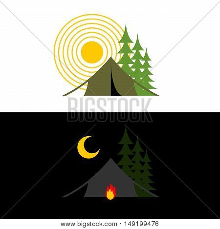Camping Day And Night. Landscape With Tent And Forest. Accommodation In Camp. Sun And Moon. Fire At