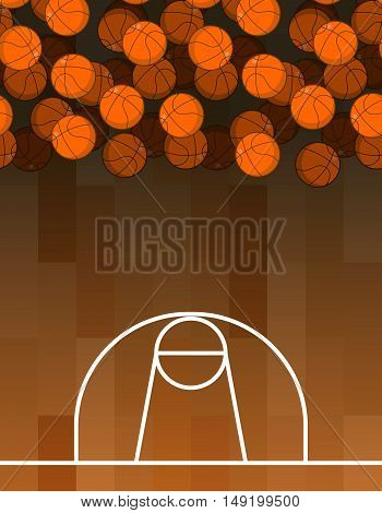 Ball And Basketball Court. Lot Of Balls. Basketball Background. Sports Accessories