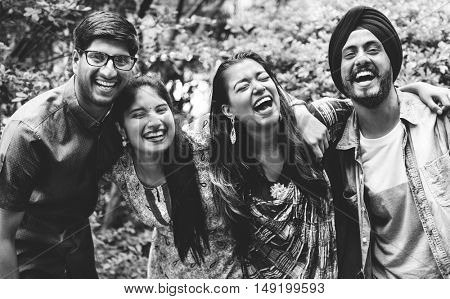 Indian Friends Hangout Outdoors Happy Concept
