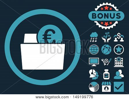 Euro Wallet icon with bonus pictures. Vector illustration style is flat iconic bicolor symbols blue and white colors dark blue background.