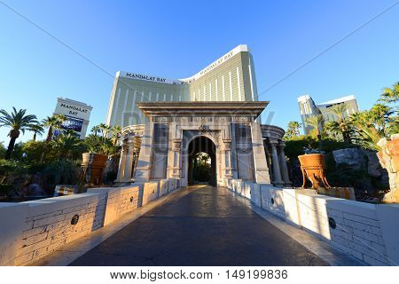 LAS VEGAS - DEC 25: Mandalay Bay Resort and Casino on Las Vegas Strip on Dec. 25, 2016 in Las Vegas, Nevada, USA. It is owned by MGM Resorts International with Tropical theme.