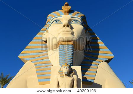 LAS VEGAS - DEC 25: Luxor Las Vegas is a Resort and Casino on Las Vegas Strip on Dec. 25, 2016 in Las Vegas, Nevada, USA. The Great Sphinx of Giza is at the entrance of the resort.
