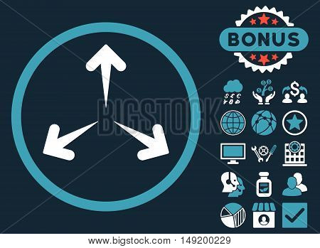 Expand Arrows icon with bonus images. Vector illustration style is flat iconic bicolor symbols blue and white colors dark blue background.