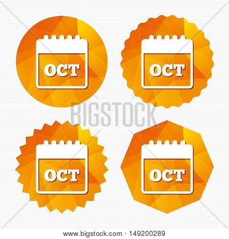 Calendar sign icon. October month symbol. Triangular low poly buttons with flat icon. Vector
