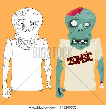 Zombie coloring sketch vector illustration. Make it bright!