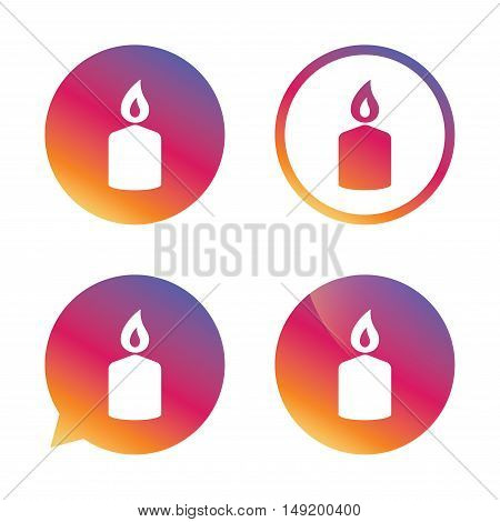 Candle sign icon. Fire symbol. Gradient buttons with flat icon. Speech bubble sign. Vector