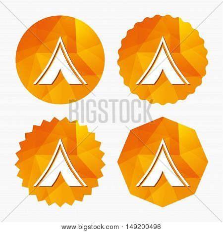 Tourist tent sign icon. Camping symbol. Triangular low poly buttons with flat icon. Vector