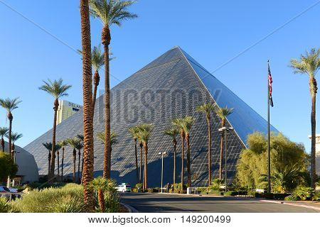 LAS VEGAS - DEC 25: Luxor Las Vegas is a Resort and Casino on Las Vegas Strip on Dec. 25, 2016 in Las Vegas, Nevada, USA. The hotel is pyramid shape with glass on the surface with Ancient Egypt theme.