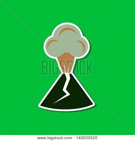 paper sticker on stylish background volcano erupting