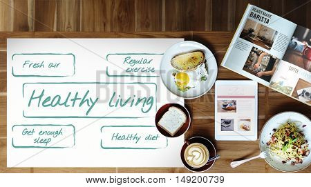 Healthy Living Exercise Diet Nutrition Graphic Concept