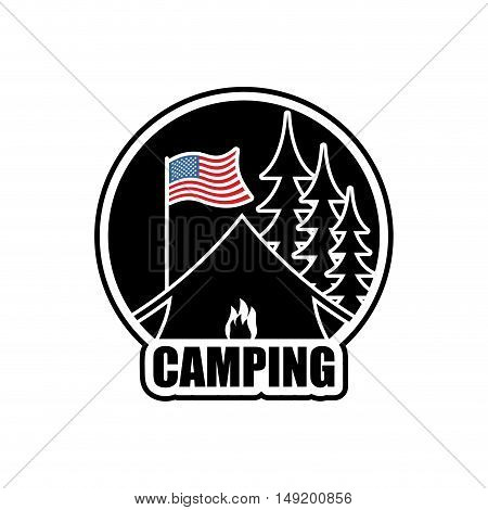 American Camping Logo. Emblem For Accommodation Camp. Usa Flag. Landscape With Tent And Forest. Fire