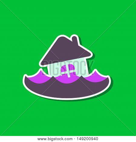 paper sticker on stylish background flood house