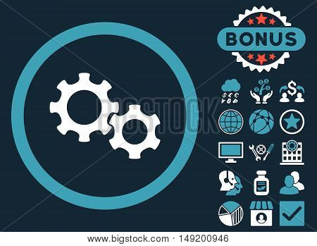 Gears icon with bonus pictures. Vector illustration style is flat iconic bicolor symbols blue and white colors dark blue background.