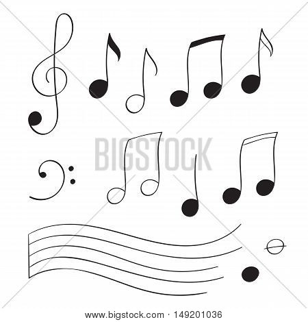 Set different musical notes in black on a white background vector illustration