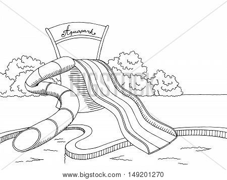 Aqua park graphic art black white sketch illustration vector