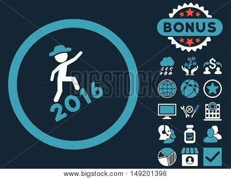 Gentleman Climbing 2016 icon with bonus design elements. Vector illustration style is flat iconic bicolor symbols blue and white colors dark blue background.