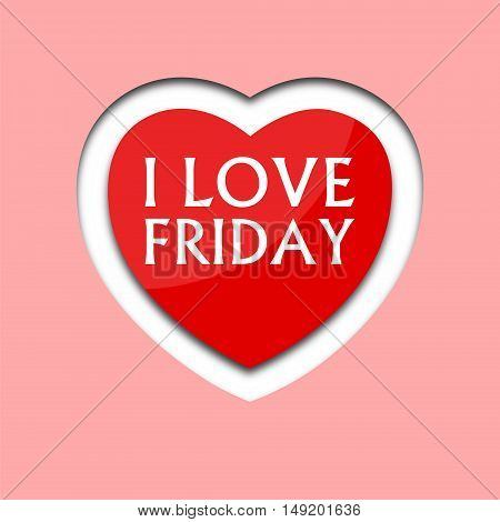 I love friday, font type with heart