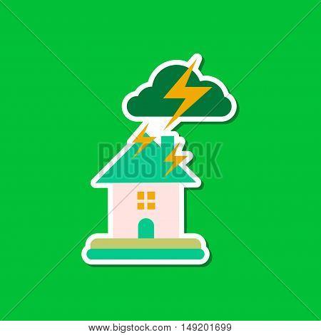 paper sticker on stylish background nature lightning house