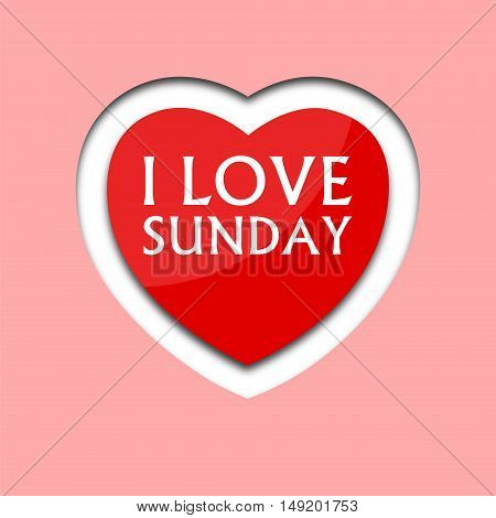 I love sunday, font type with heart