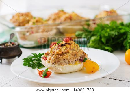 Squash Stuffed With Vegetables And Meat.