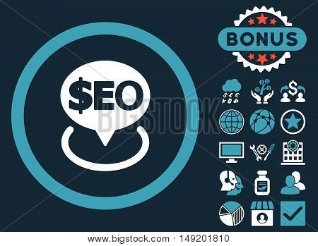 Geotargeting Seo icon with bonus symbols. Vector illustration style is flat iconic bicolor symbols blue and white colors dark blue background.