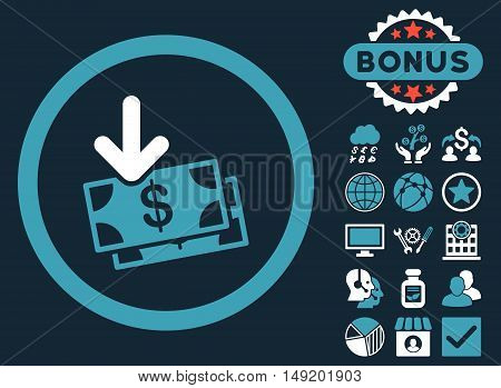 Get Banknotes icon with bonus elements. Vector illustration style is flat iconic bicolor symbols blue and white colors dark blue background.