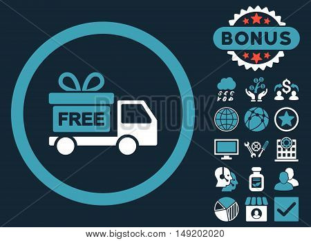 Gift Delivery icon with bonus symbols. Vector illustration style is flat iconic bicolor symbols blue and white colors dark blue background.