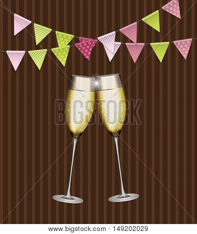 Party Background with Flags and Glasses of Champagne. Vector Illustration. EPS10