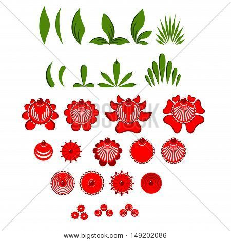 Gorodets Painting Set Of Elements Flowers And Leaves. Russian National Folk Craft. Traditional Cultu