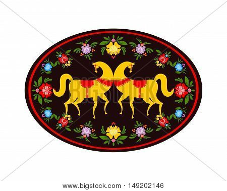 Gorodets Painting Yellow Horse And Floral Elements. Russian National Folk Craft. Traditional Decorat