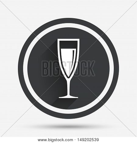 Glass of champagne sign icon. Sparkling wine. Celebration or banquet alcohol drink symbol. Circle flat button with shadow and border. Vector