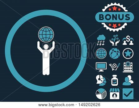 Globalist icon with bonus design elements. Vector illustration style is flat iconic bicolor symbols blue and white colors dark blue background.