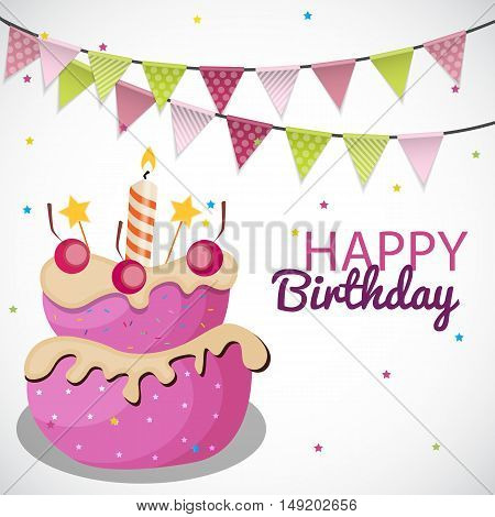 Happy Birthday Card Template with Balloons, Ribbon and Candle Vector Illustration EPS10