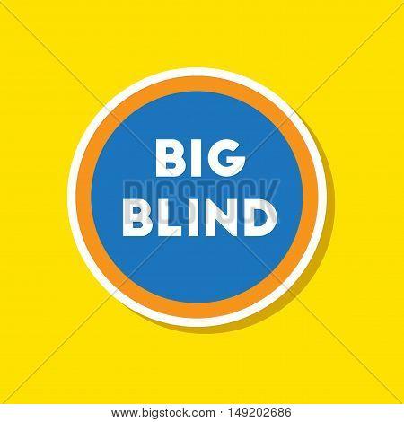 paper sticker on stylish background of poker big blind